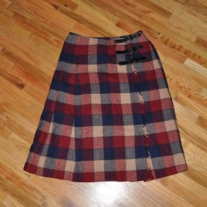 VINTAGE Schoolgirl Checkered Plaid Wrap Skirt [C9]